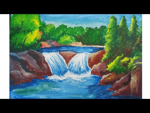 Waterfall scenery poster color painting on canvas| landscape poster color painting