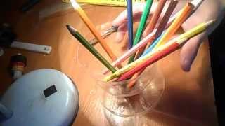 как сделать подставку для карандашей из пластиковой бутылки