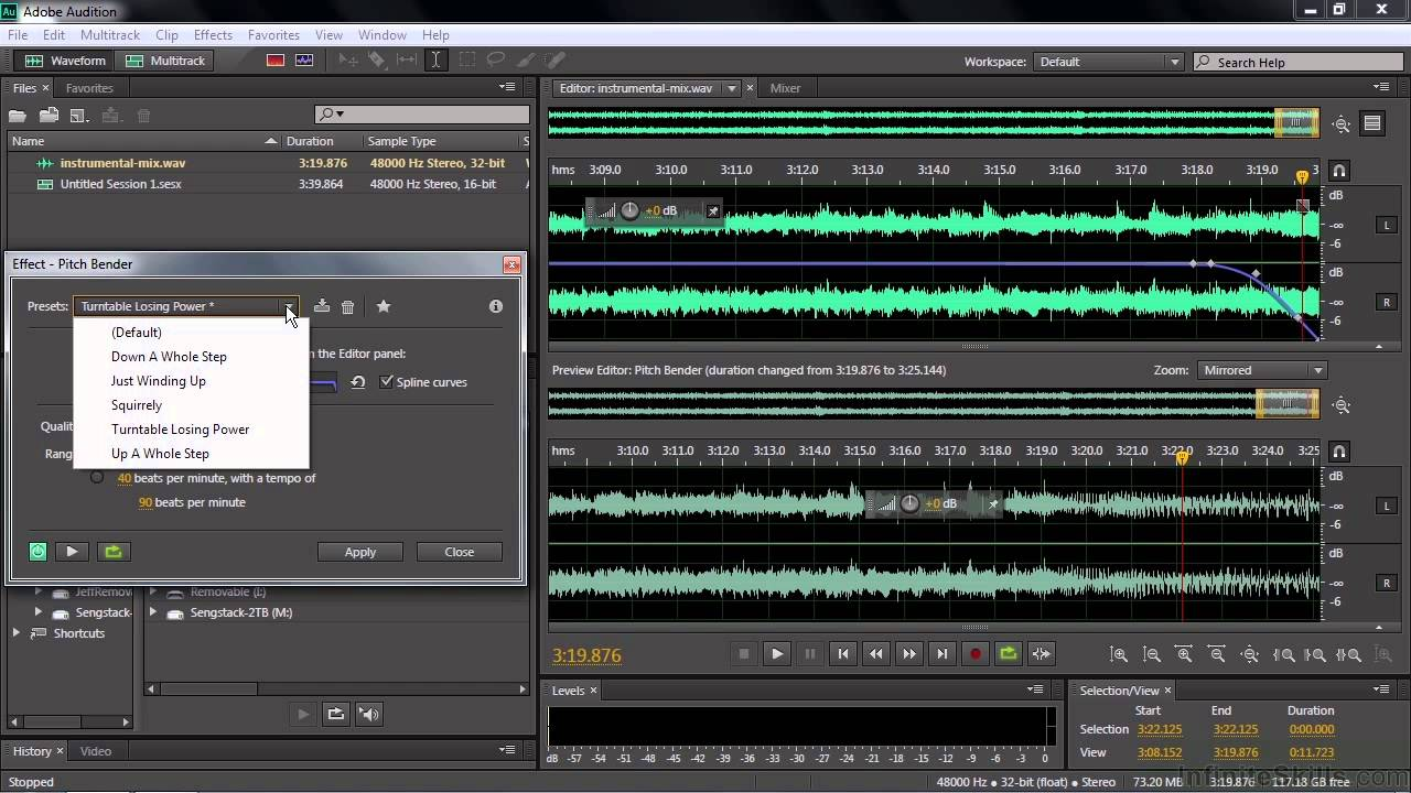Adobe Audition CC Tutorial | Working With The Pitch Bender And Pitch  Shifter Effects