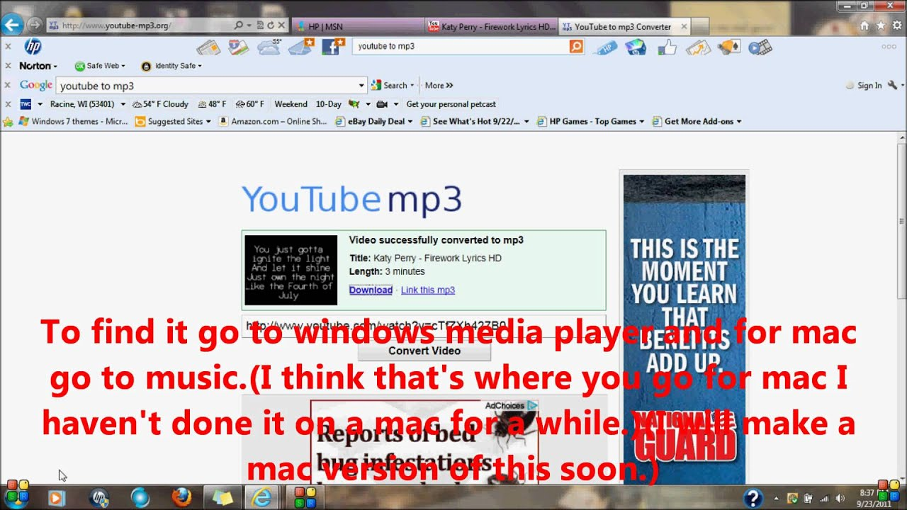 How To Download Mp3 File Music From Youtube(some Music Is Copyright  Protected And Wont Convert)