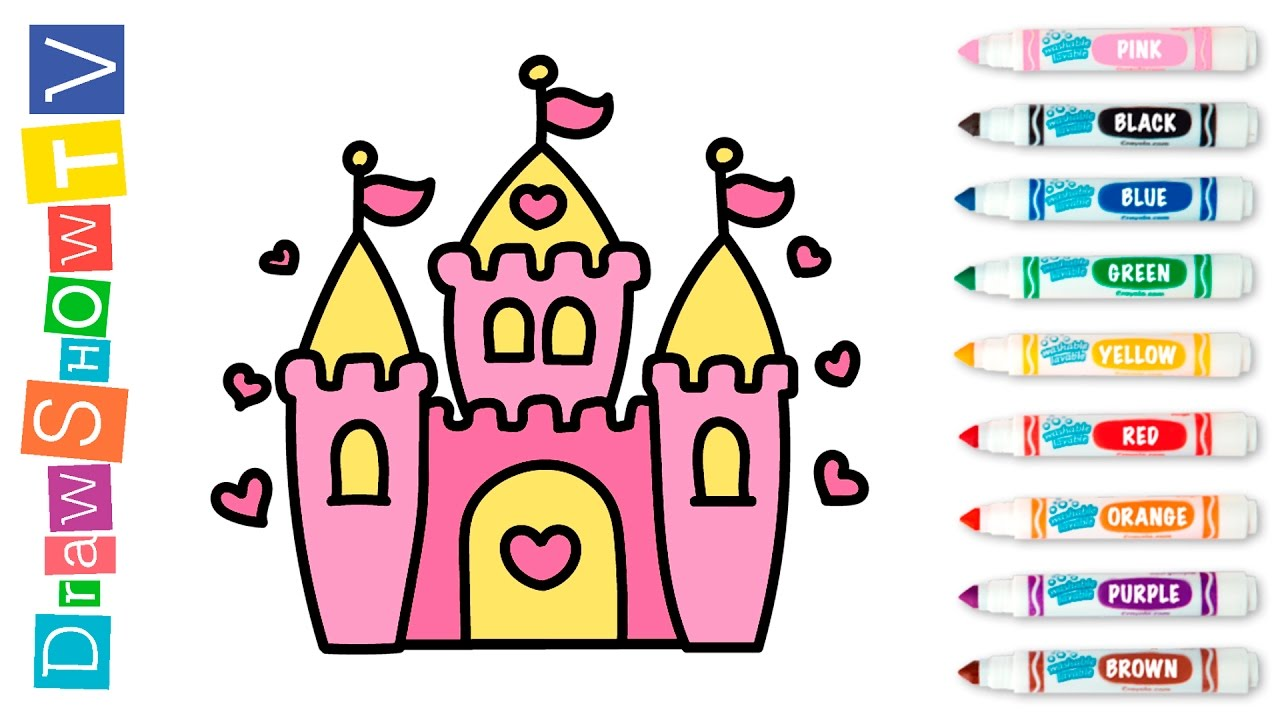 how to draw castle of princess coloring pages video for kids