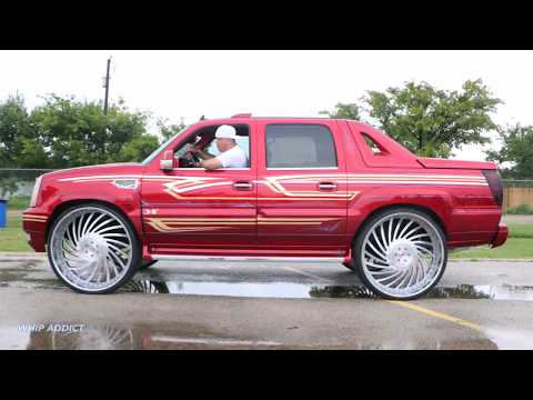 WhipAddict: Kandy Cadillac Escalade EXT, BAGGED Engraved Corleone Forged Fiato 34s!!