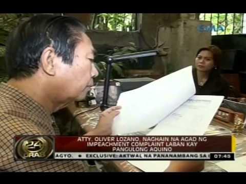 Atty. Oliver Lozano, naghain na agad ng impeachment complaint laban kay Pangulong Aquino