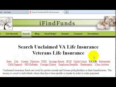 Search unclaimed VA Life Insurance Benefits - YouTube
