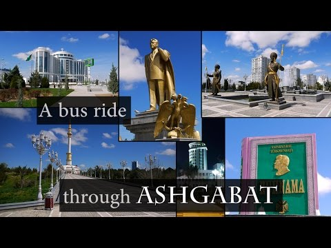 A bus ride through Ashgabat, Turkmenistan