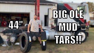 "Mounting Massive 44"" SEMI Truck MUD Grip Tires!"