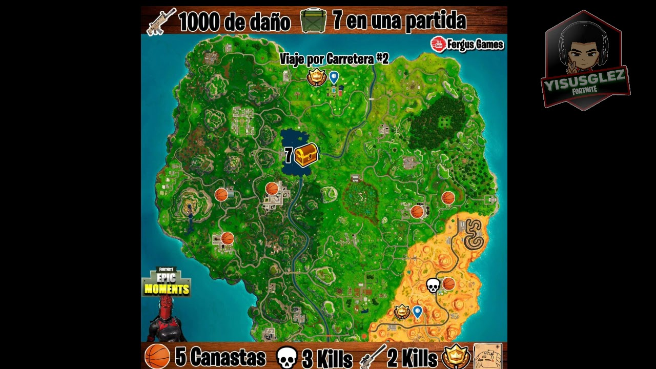 Mapa Fortnite Temporada 5 Español.Mapa Con Todos Los Desafios De La Semana 2 Fortnite