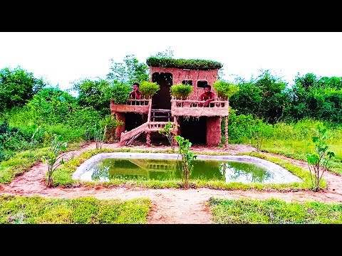 Build Beautiful Two Floors Mud House Villa ( Full Video)