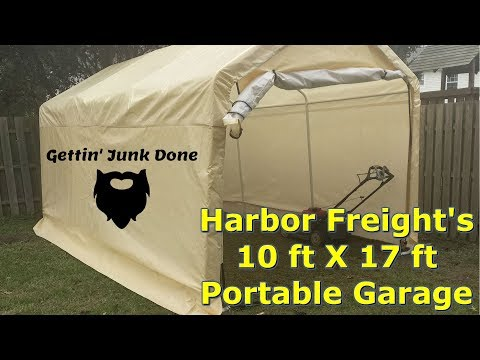 Harbor Freight Portable Garage 10 Ft X 17 Ft Initial Review By Gettinjunkdone Youtube