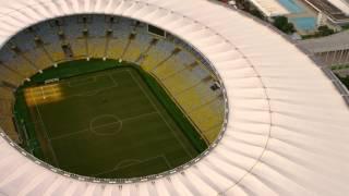 Aerial footage of Maracanã Soccer Stadium - Rio de Janeiro, Brazil.