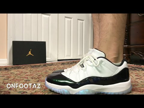 Air Jordan 11 XI Low Easter Emerald Iridescent On Foot