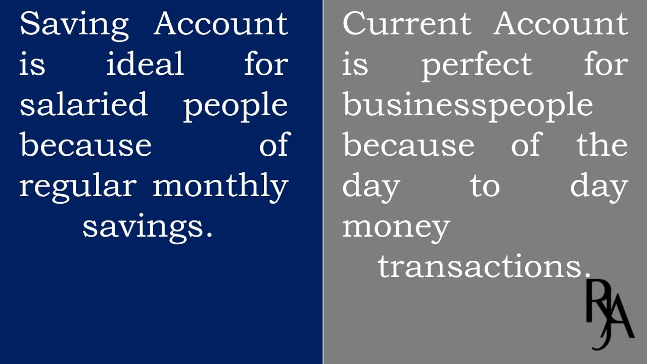 difference between saving and current account youtube