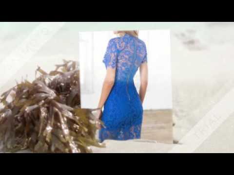 Blue Short Sleeve Crochet Lace Zipper Dress  SheIn
