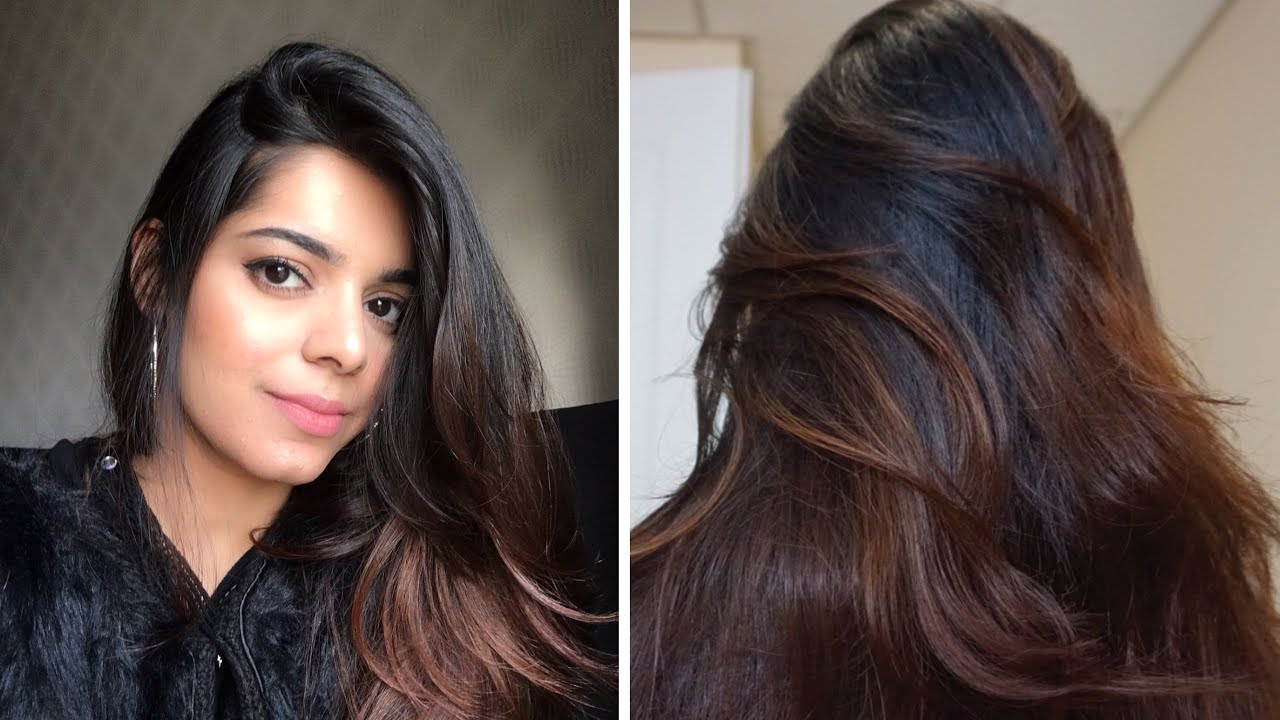 NO BLEACH DIY OMBRE/BALAYAGE ON JET BLACK HAIR, how I dyed my black hair to  brown at home