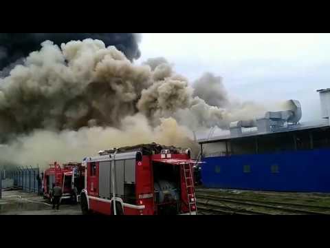 Пожар на складе бумажной и полиэтиленовой тары в Краснодаре 12.03.2019