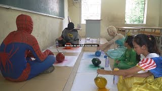 QP Superhero Kids Go To School Learn Colors for Children with Coconut Fruit w/ Teacher Frozen Elsa