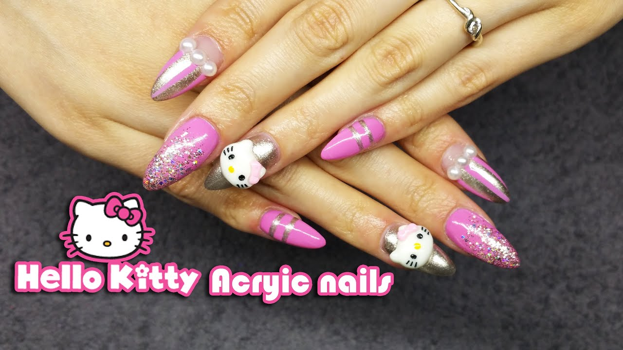 How To Hello Kitty Acrylic Nail Art Cute Nail Design Youtube