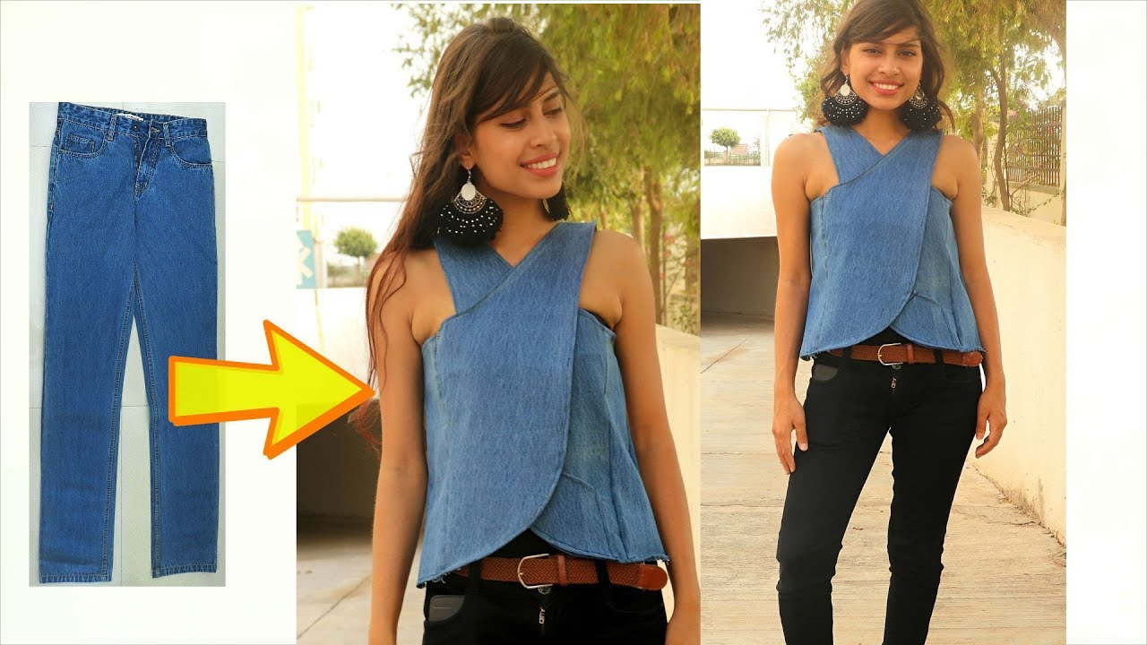 DIY: Convert/ Recycle, Reuse old jeans into girls wrap top ...