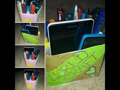 How to make  Pen and Mobile stand in paper: world craft