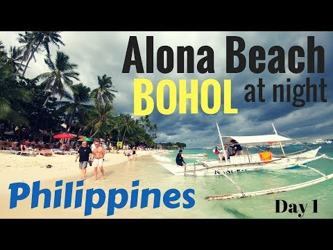 Philippines  Bohol, Alona Beach at night..