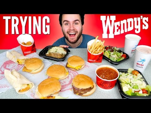 TRYING WENDY'S WHOLE DOLLAR MENU! -  Burgers, Fries, Chicken Nuggets & MORE Fast Food Taste Test!