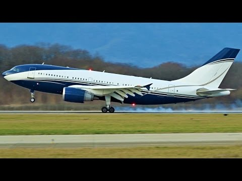 [FullHD] Al-Atheer Airbus A310-300 landing & takeoff at Geneva/GVA/LSGG