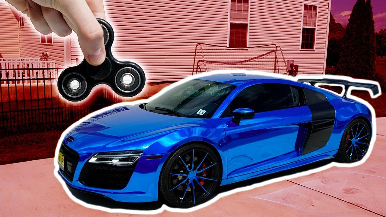1000 Mph Fidget Spinner Vs Audi R8 Supercar Youtube