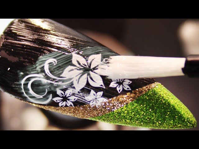 How To Create  Glitter Stencil White Flower Vine Stamping Nail Art Design (Part 1)