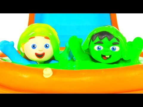 SUPERHERO BABIES PLAYING WITH GREEN SLIME ❤ SUPERHERO PLAY DOH CARTOONS FOR KIDS