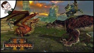 Dinosaur v Dragon - Epic Kroq-gar and Grymloq Custom Animation - Total War WARHAMMER 2 Gameplay
