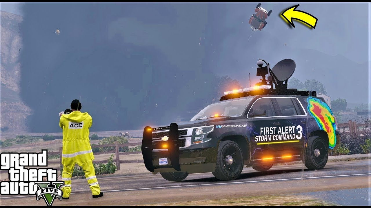 GTA 5 Tornado Mod First Alert Storm Chasers - Tornadoes Destroys Blaine County - YouTube