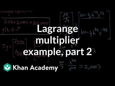 Lagrange multiplier example, part 2