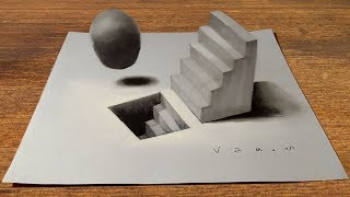 Drawing Staircase and Sphere Illusion - 3D Trick Art - VamosART