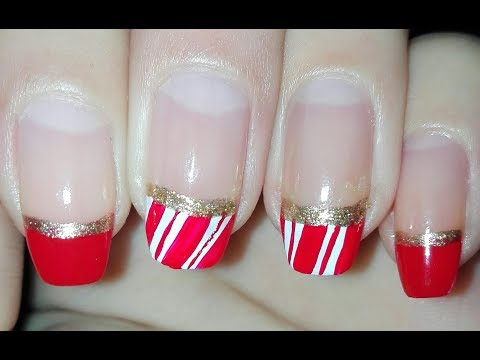 Candy Cane French Manicure Christmas Nail Art Tutorial  Rose Pearl