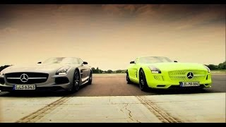Repeat youtube video Petrol vs Electric - Mercedes SLS AMG Battle - Top Gear - Series 20 - BBC