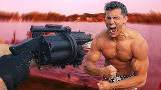 Bodybuilder VS 40mm GRENADE LAUNCHER - The Most Painful Airsoft Gun in Existence
