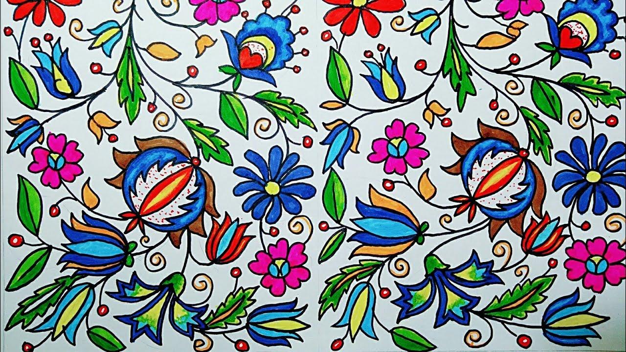 Cara Menggambar Dan Mewarnai Floral Ornamen Yang Indah