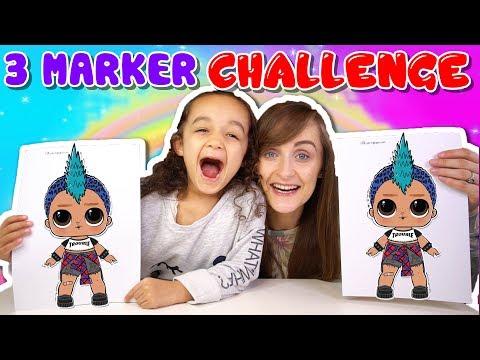 3 MARKER CHALLENGE | LOL SURPRISE SERIES 3 WAVE 2 CONFETTI POP | KID VS PARENT