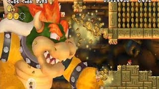 New Super Mario Bros. Wii - All Boss Fights & Final Boss (All Koopalings, Bowser + Ending)