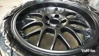 Black shadow chrome wheel painting Mitsubishi Evo 7