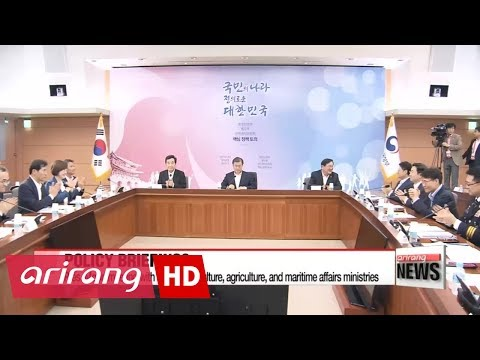 Pres. Moon briefing with education, culture, agriculture, and maritime affairs ministries