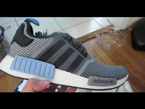 buy popular b44ca d9c90 Adidas NMD Runner R1 Circle Knit Grey Black Clear Blue Unboxing - YouTube
