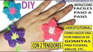 Repeat youtube video COMO HACER UNA FLOR HIBISCUS DE GOMITAS CON DOS TENEDORES PARA UNA PULSERA, ANILLO...