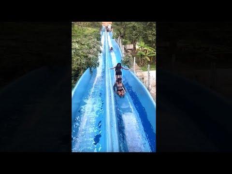 girls get stuck on water slide, goes very wrong..