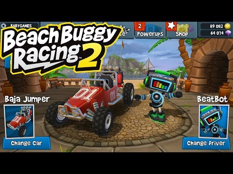 Driving Turbo Shooting 3D Car Race Game Play - Beach Buggy Racing 2 - Baja Jumper & Beatbot