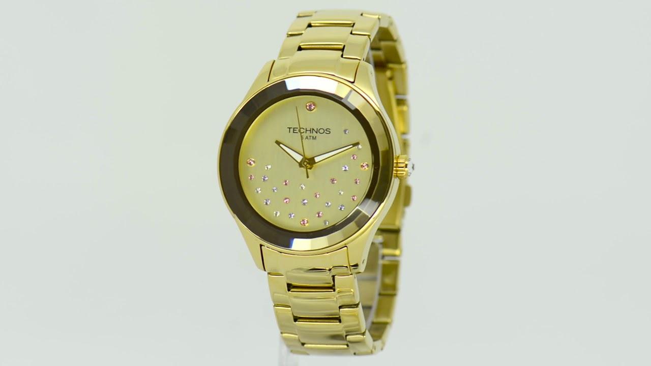 Relógio Technos Feminino Elegance Crystal Swarovski 2036LLP 4X - Eclock aeb02d7dd4