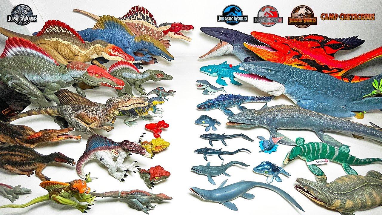 Mosasaurus vs Spinosaurus Collection! Jurassic World Camp Cretaceous Dinosaurs Battle