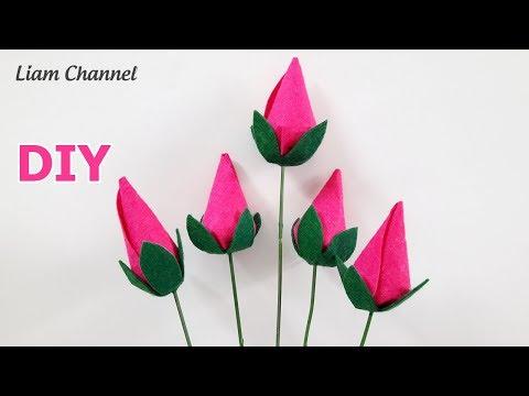Cách làm hoa hồng Nụ bằng vải Nỉ   DIY felt flower rose bud   Liam Channel   Foci