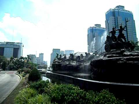 The Horse Fountain just before The National Monument, Jakarta, Indonesia. early Jan 2012