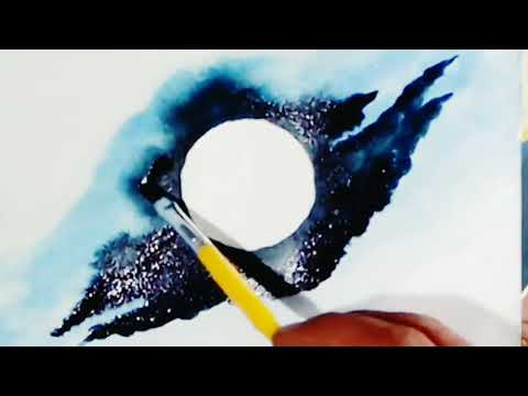 Drawing of the moon | watercolour painting|Beginners' landscape